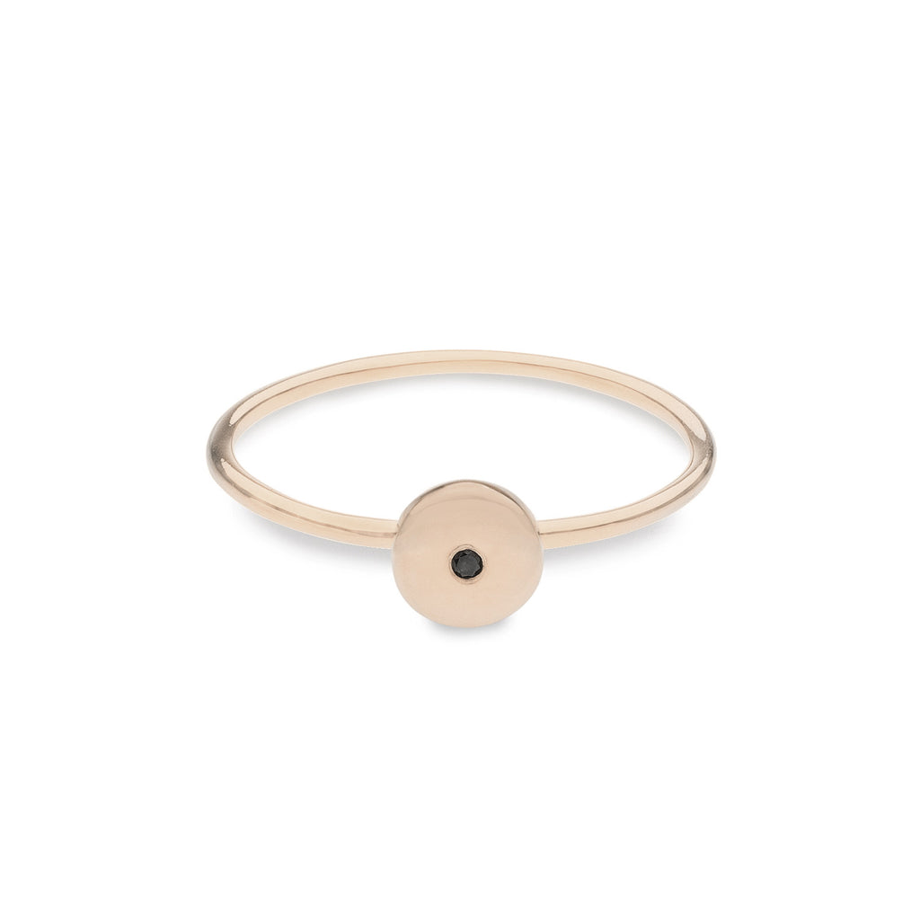 Geo Ring - Circle - Rose Gold - Black Diamond