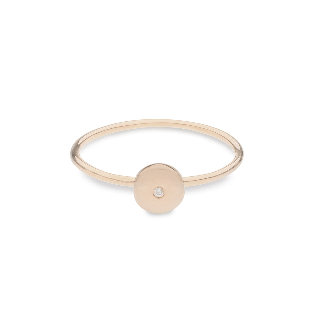 Geo Ring - Circle - Rose Gold - Diamond