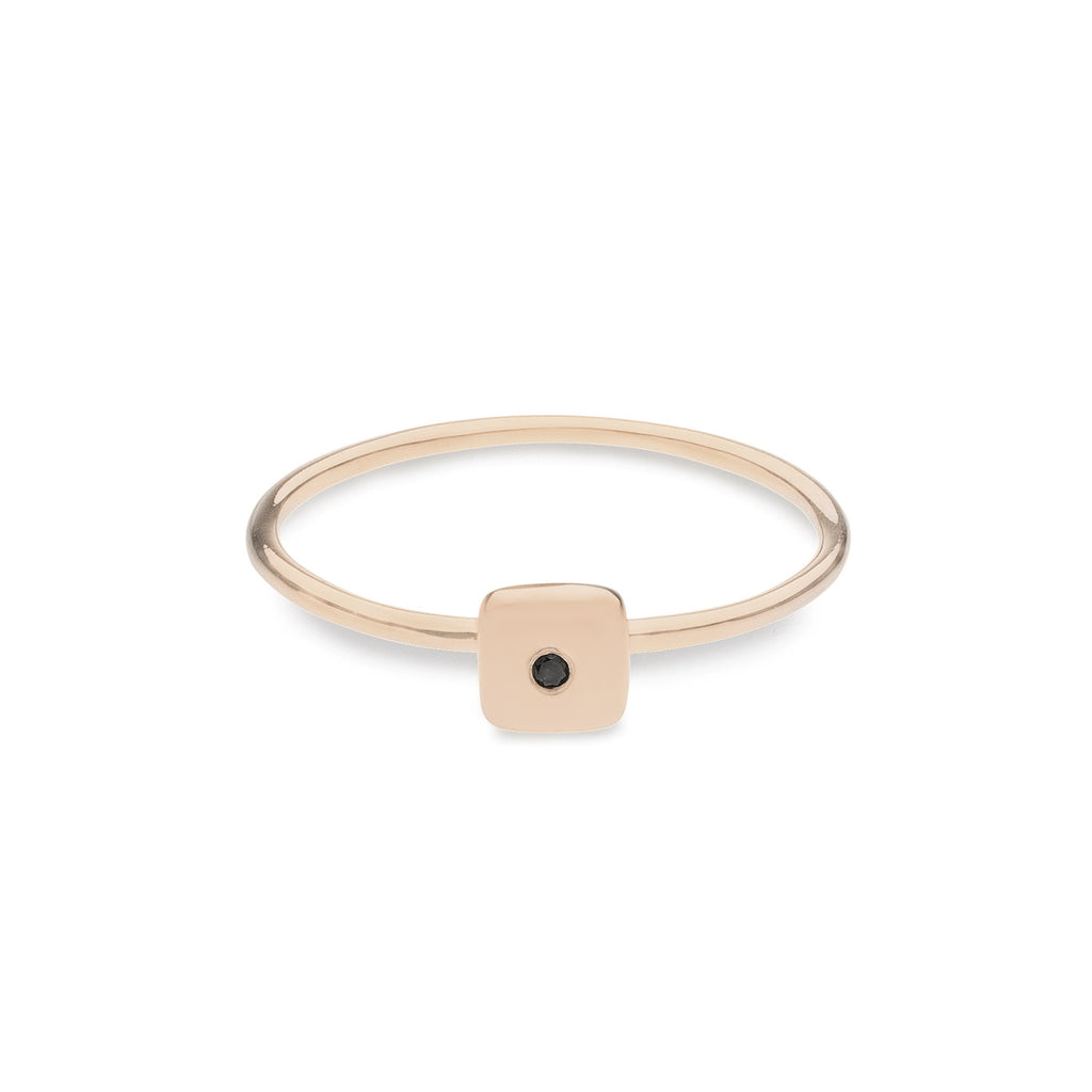Geo Ring - Square - Rose Gold - Black Diamond