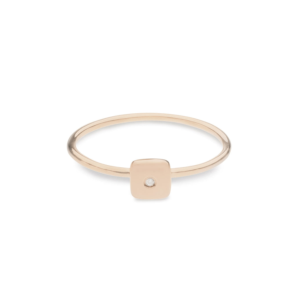 Geo Ring - Square - Rose Gold - Diamond
