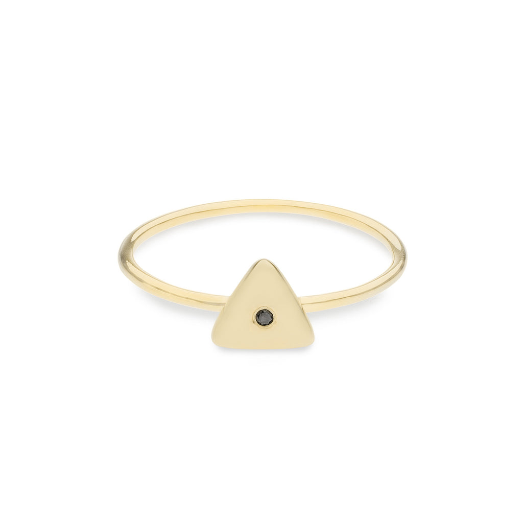 Geo Ring - Triangle - Gold - Black Diamond