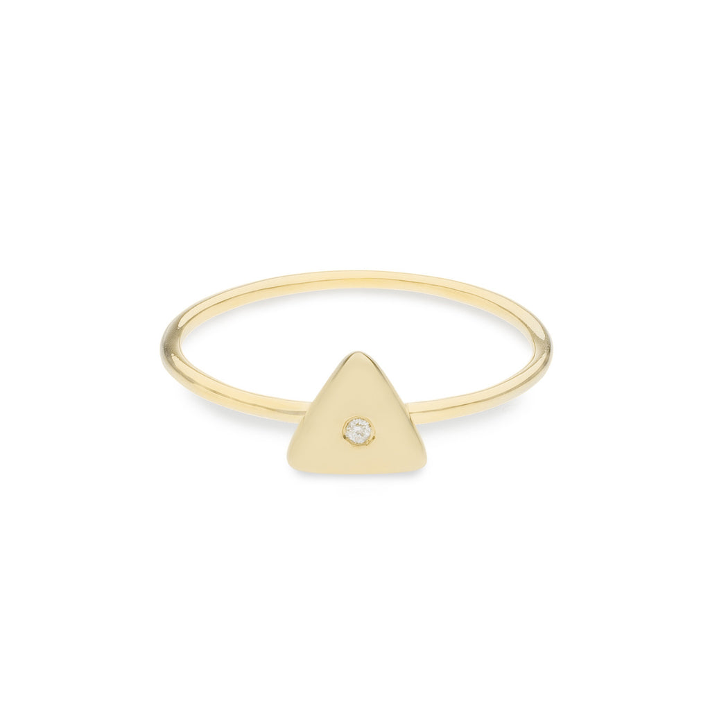 Geo Ring - Triangle - Gold - White Diamond