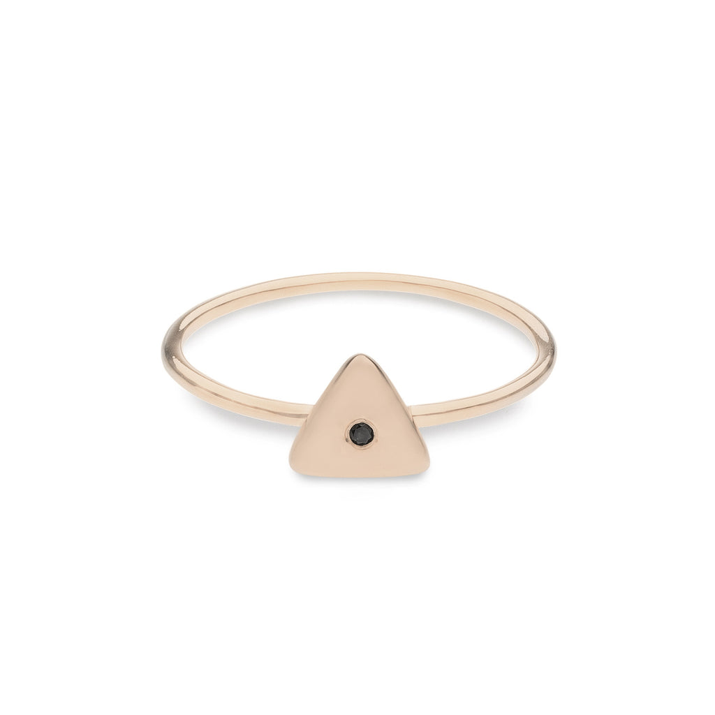 Geo Ring - Triangle - Rose Gold - Black Diamond