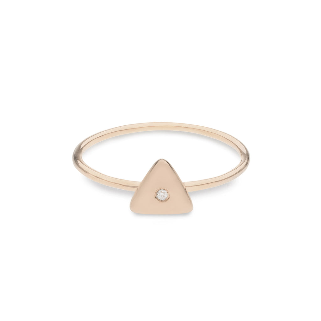 Geo Ring - Triangle - Rose Gold - Diamond