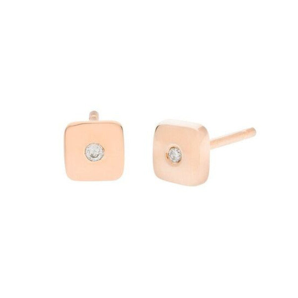 Geo Stud - Square - Rose Gold - Diamond