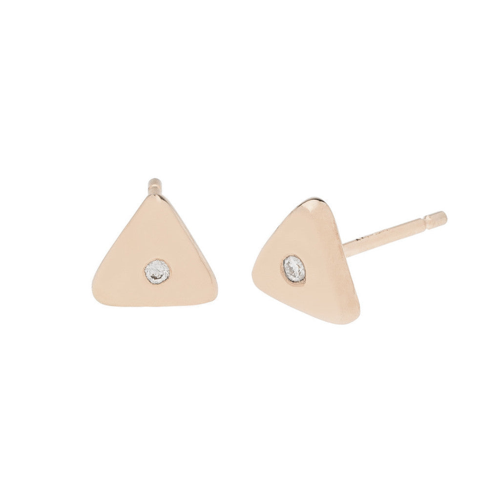 Geo Stud - Triangle - Rose Gold - Diamond