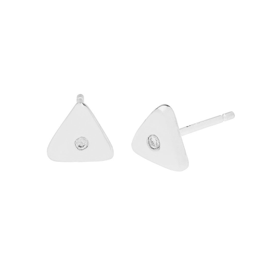 Geo Stud - Triangle - Silver - Diamond