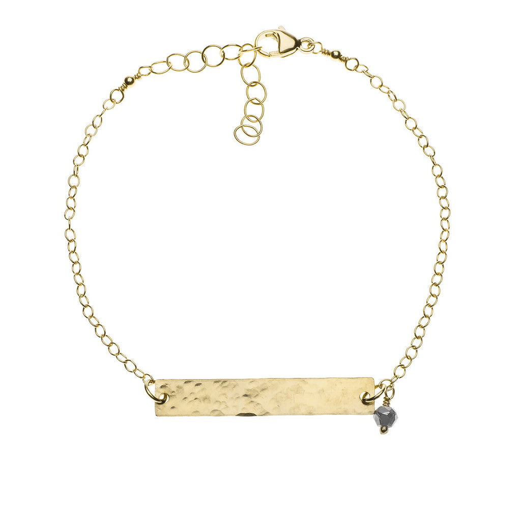 Hammered gold bar bracelet with pyrite accent