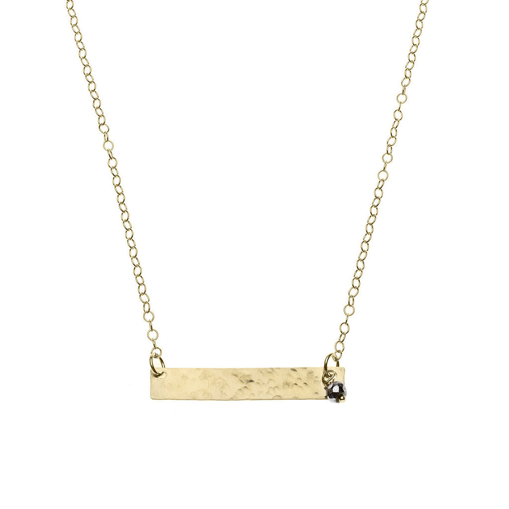 Hammered gold bar necklace with pyrite accent