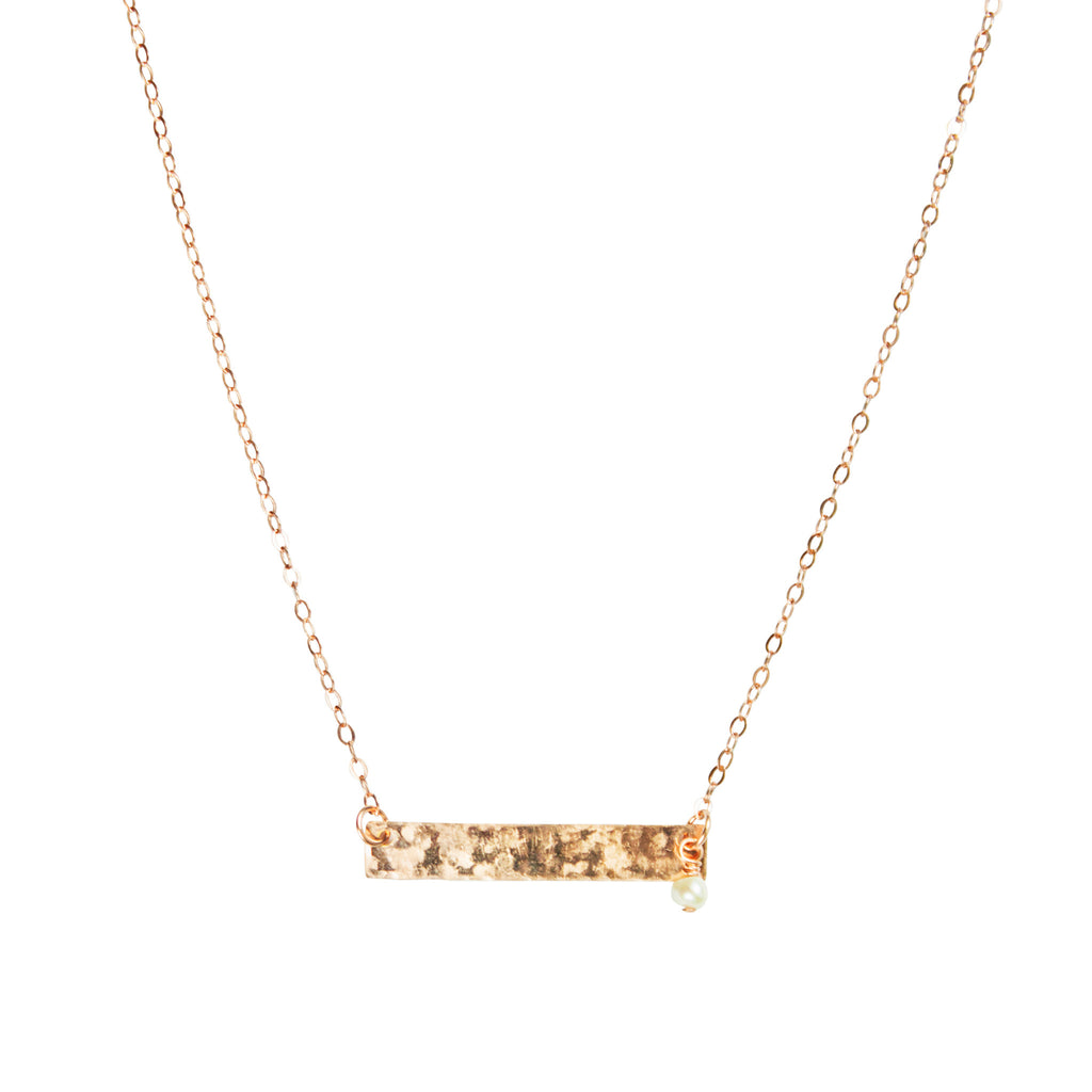 Rose gold bar and pearl accent necklace