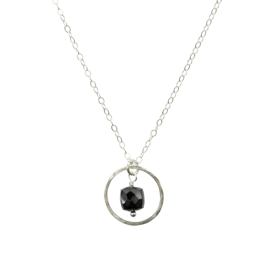 Black onyx cube and hammered silver circle necklace