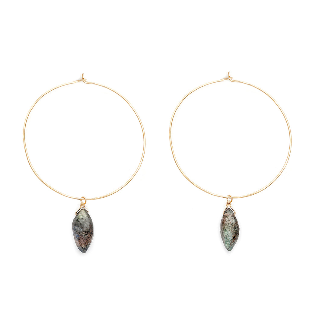 Marquis labradorite and gold-filled hoops