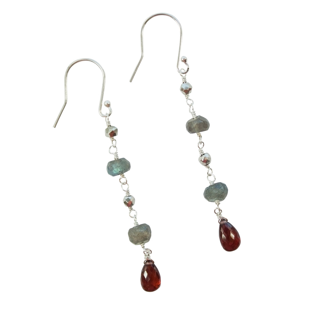 Labradorite, pyrite and rubellite earrings