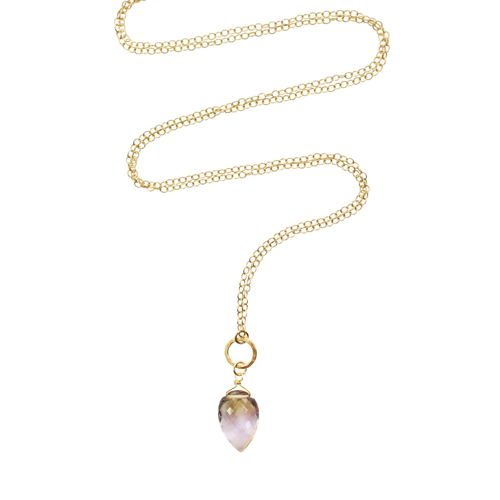 Ametrine and gold conch necklace