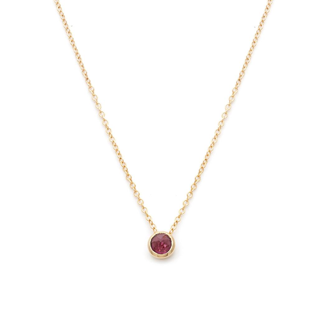 Inverted rhodolite garnet necklace in gold
