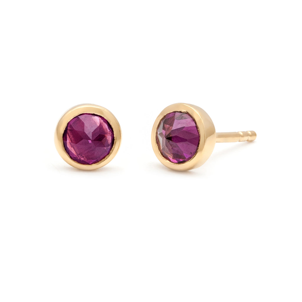 Bezel set inverted rhodolite garnet stud earrings