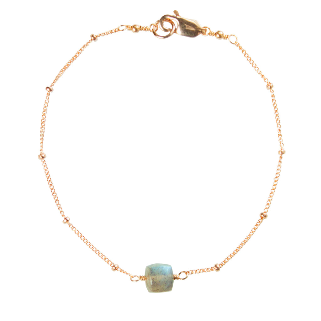 Rose gold satellite chain and labradorite bracelet