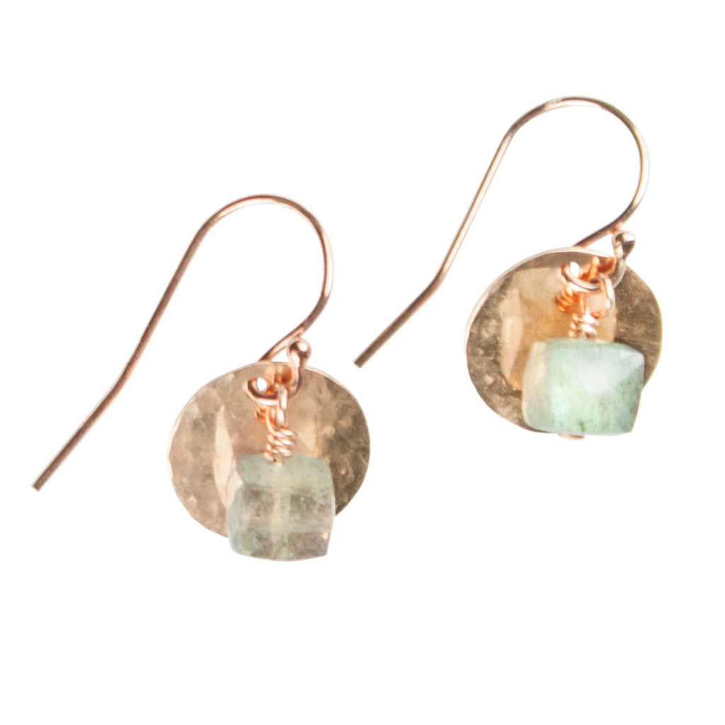 Rose gold disc & labradorite earrings