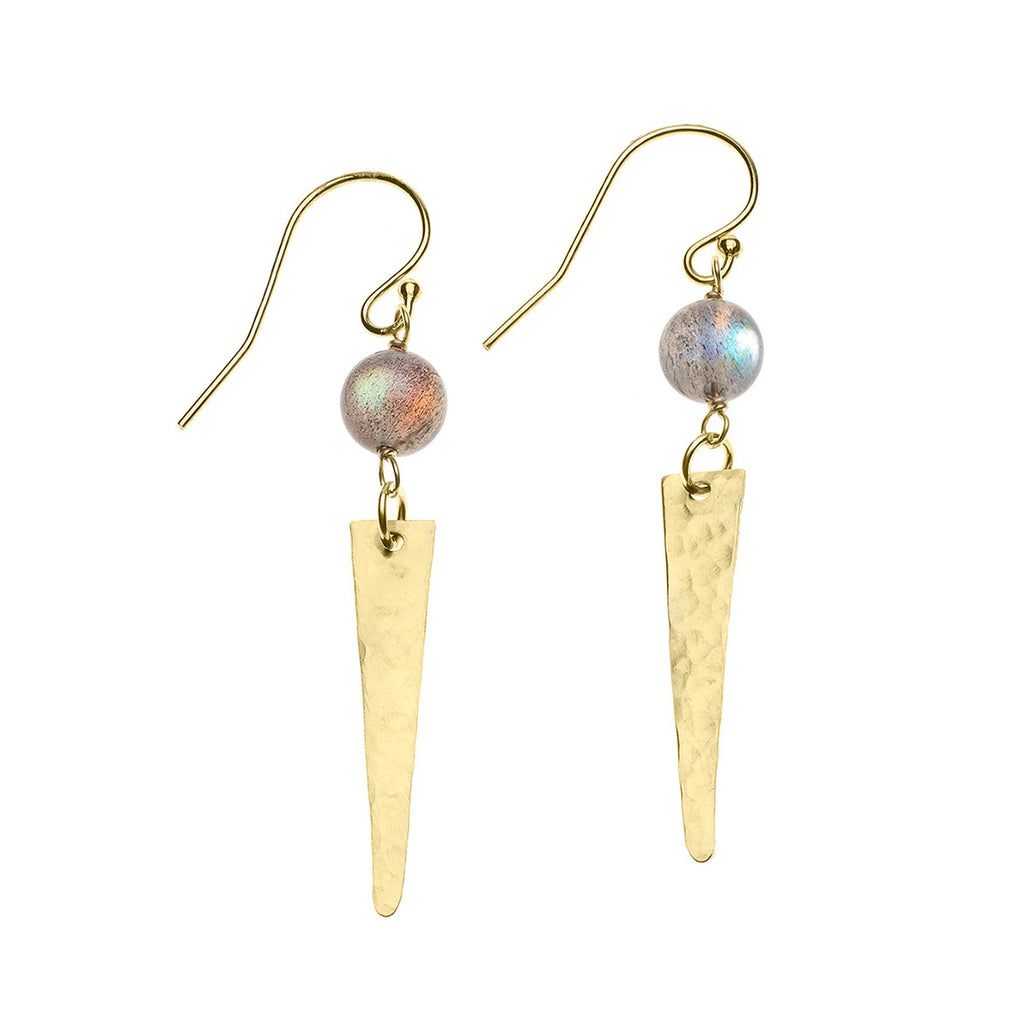 Gold spike and labradorite earrings