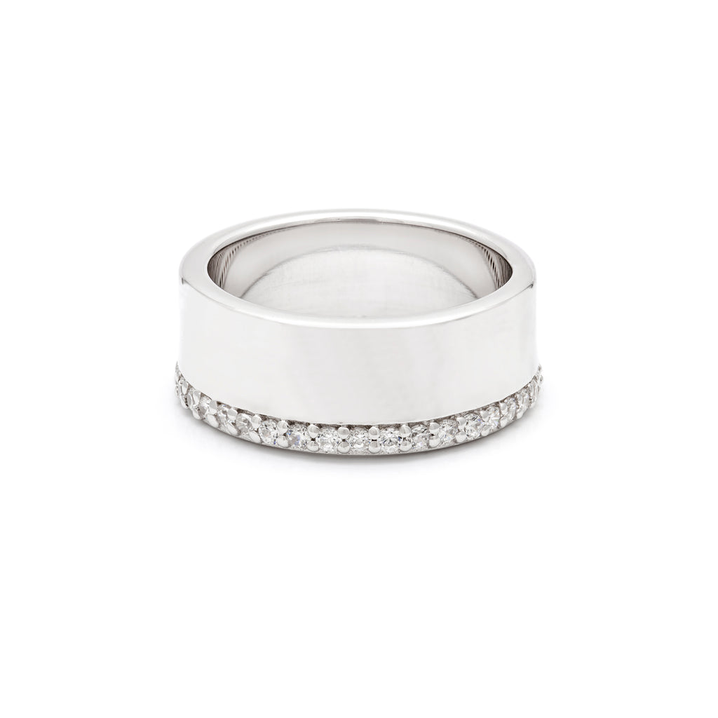 Sterling silver cigar band with cubic zirconia edging