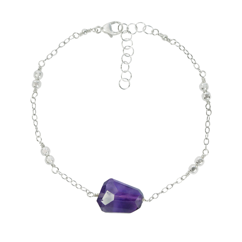 Amethyst nugget and sterling silver chain bracelet