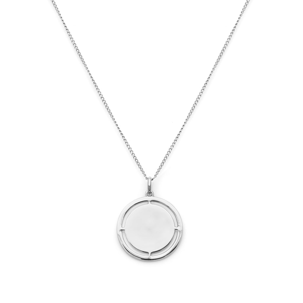 Medallion Pendant Necklace with cut-outs in silver