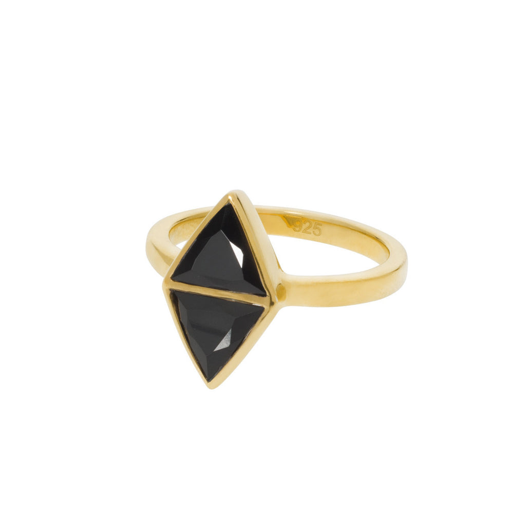 Mirror Ring - Black Spinel - Gold (side view)