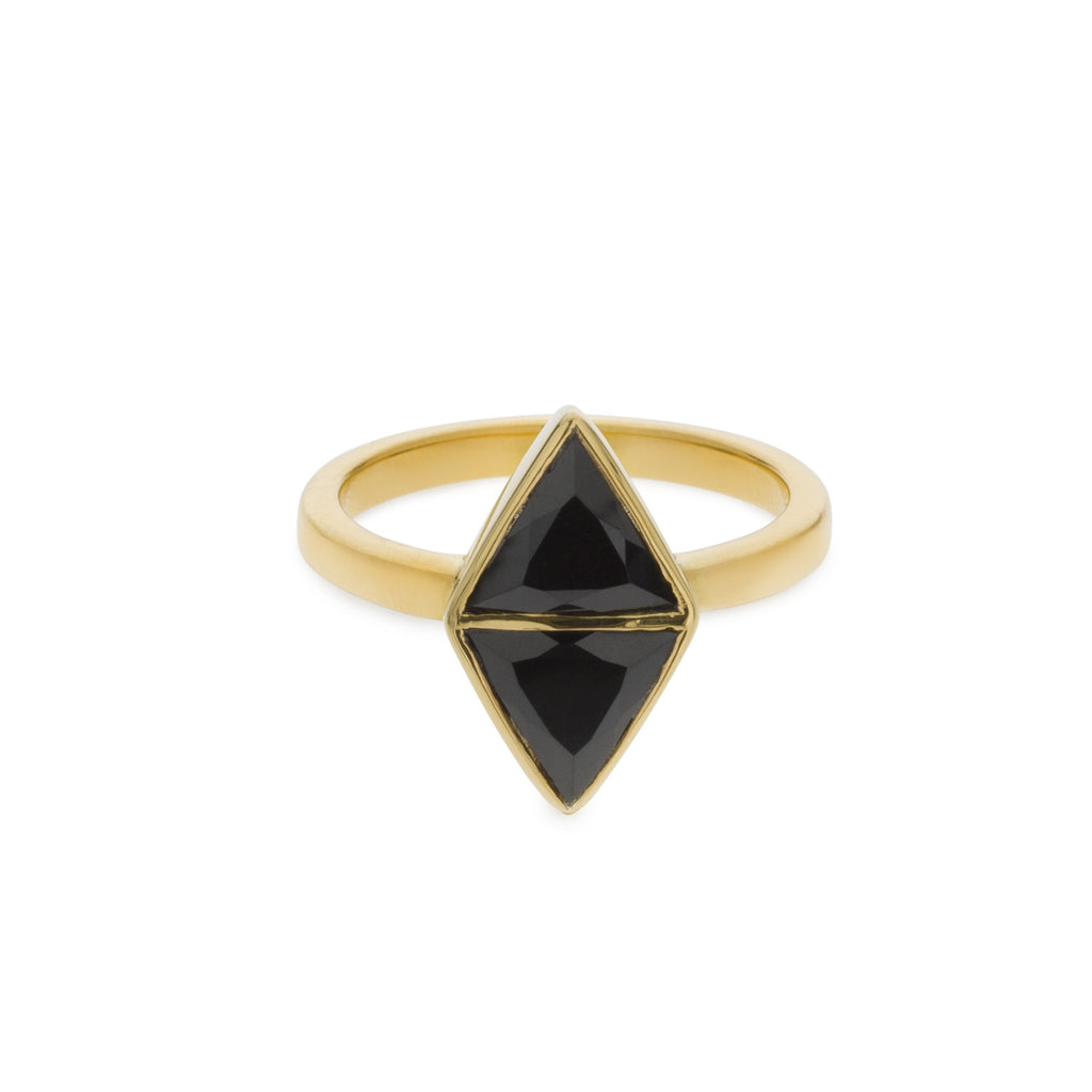 Mirror Ring - Black Spinel - Gold