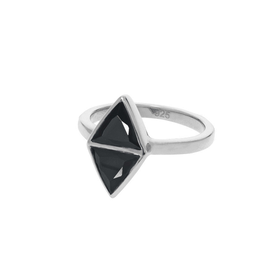 Mirror Ring - Black Spinel - Silver (side view)