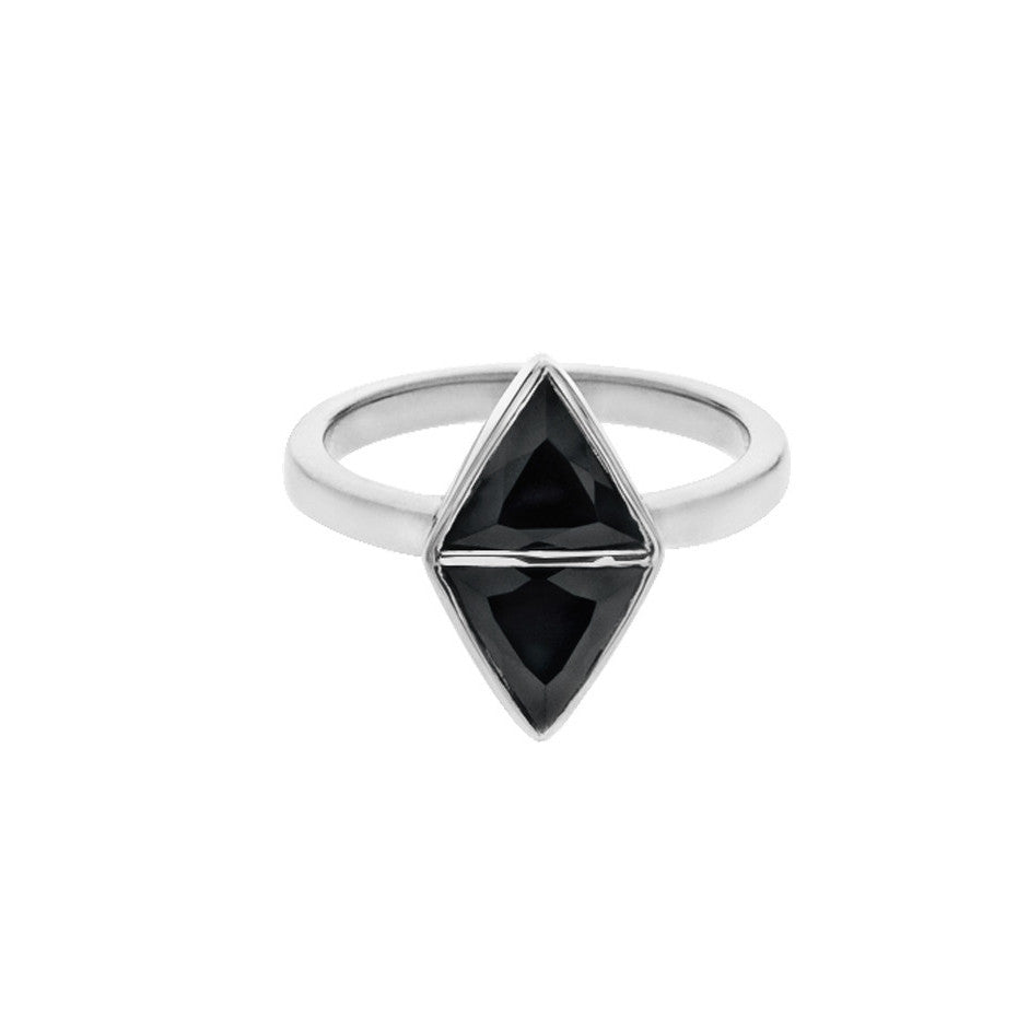Mirror Ring - Black Spinel - Silver