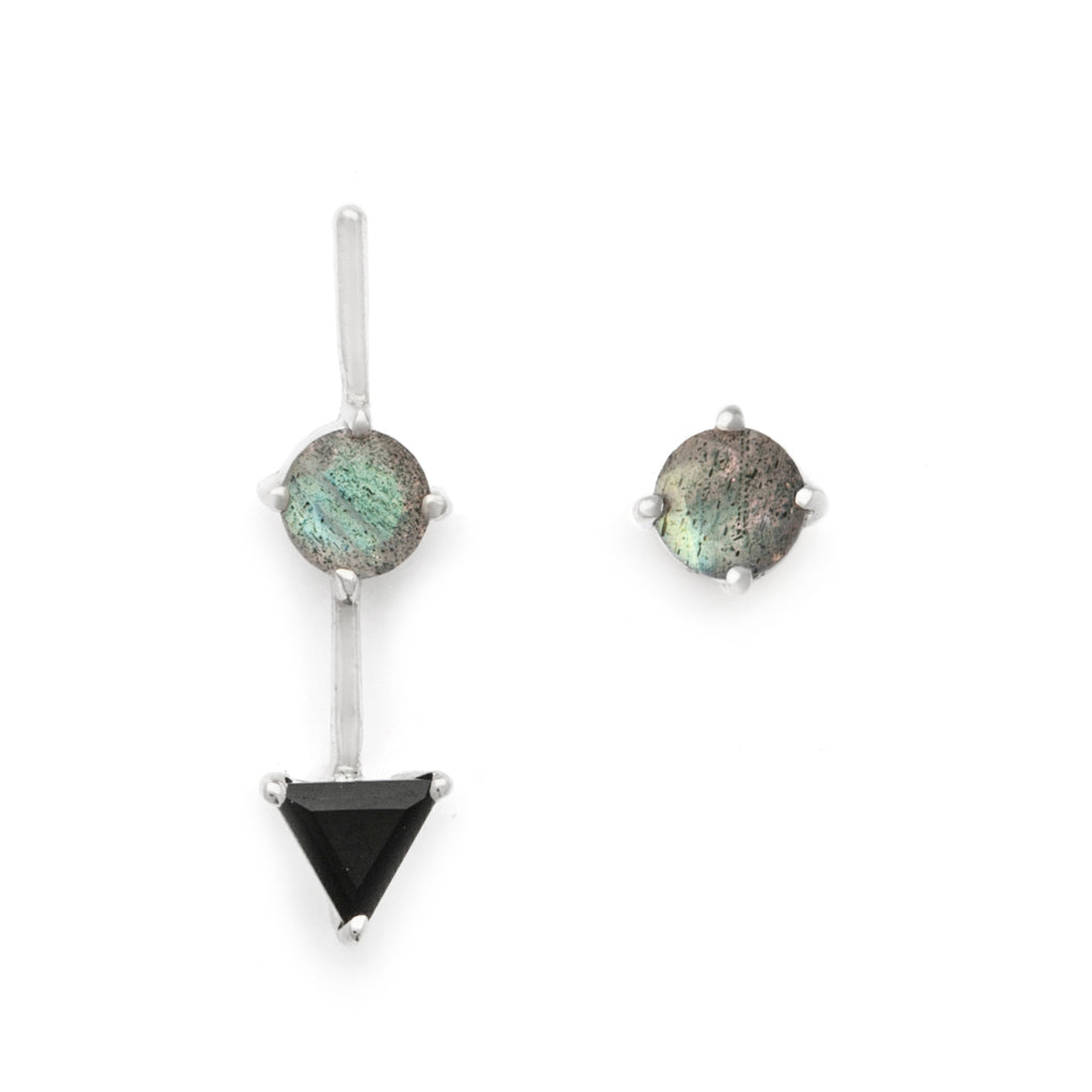 Black spinel and labradorite mismatched stud earrings in silver