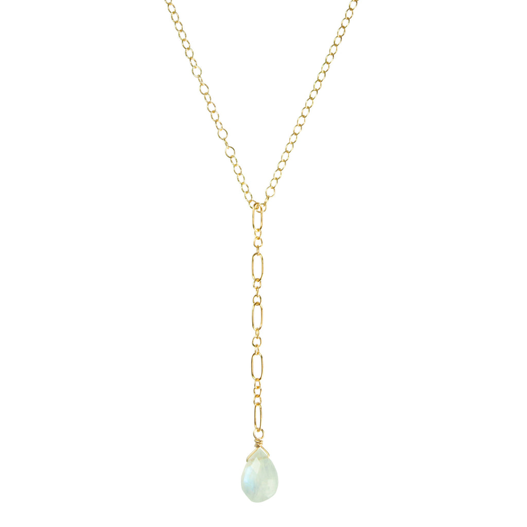 Short moonstone & gold lariat necklace
