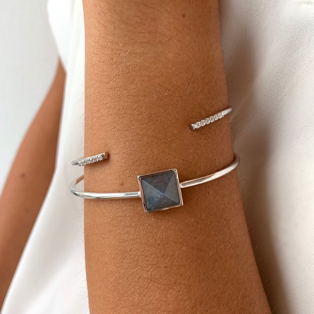 Pyramid Cuff in Silver on wrist
