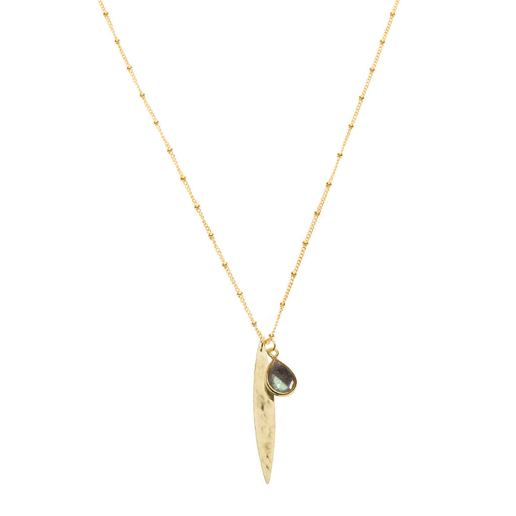 Gold spike and labradorite charm necklace