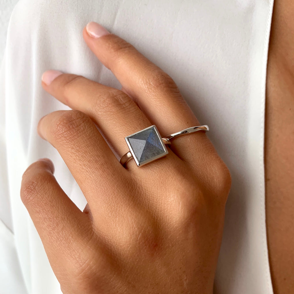 Pyramid Ring in Silver on model