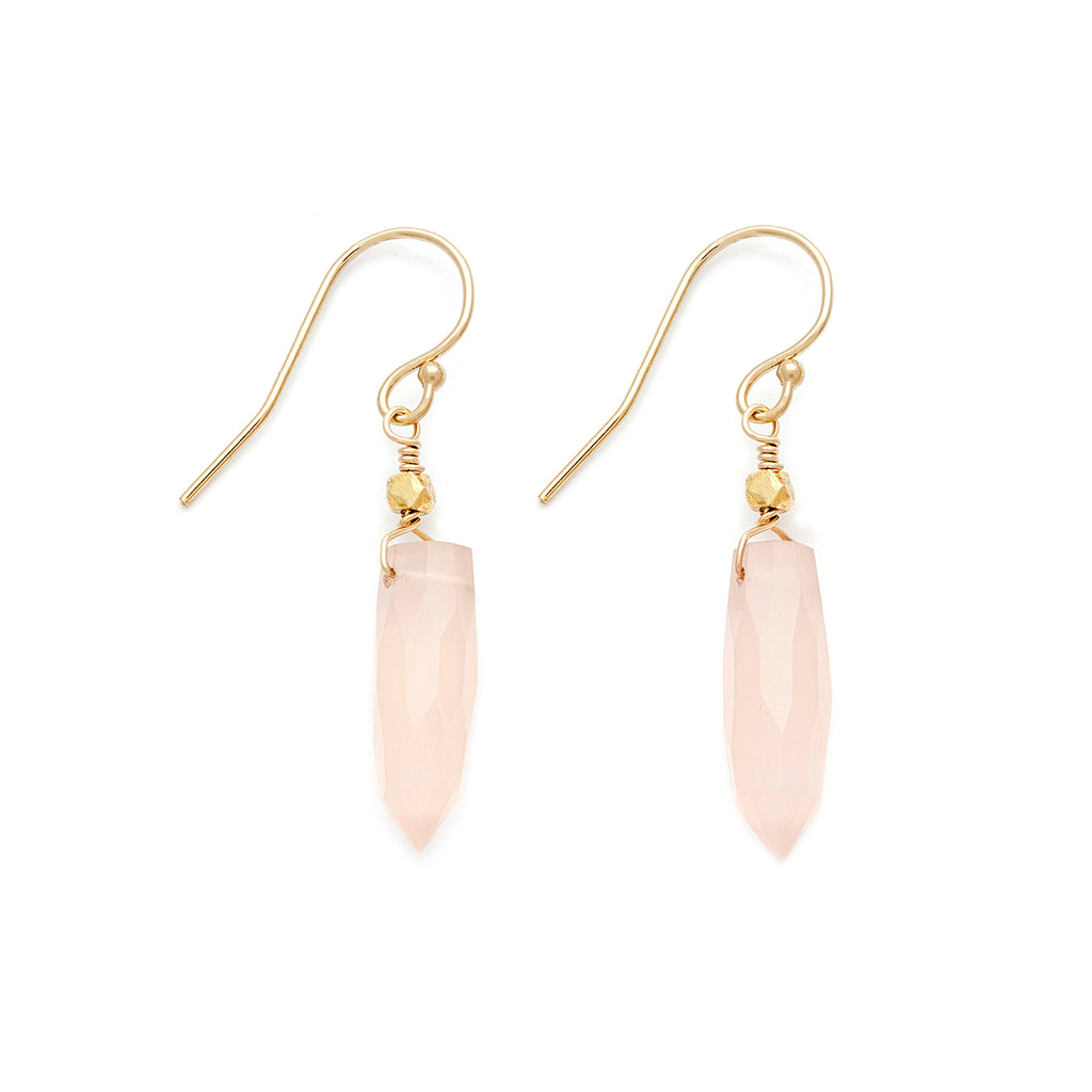 Rose quartz spike earrings