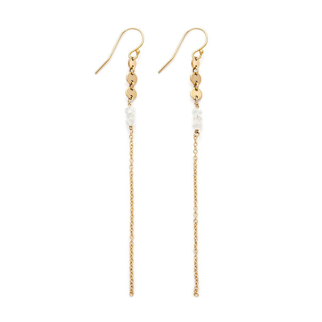 Moonstone & gold-filled chain earrings