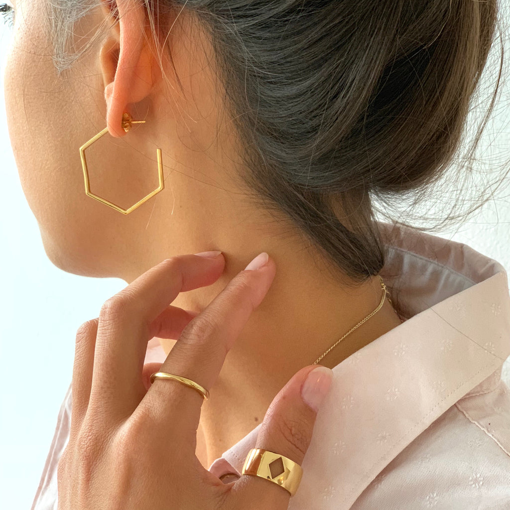 Hexagon Hoops styled