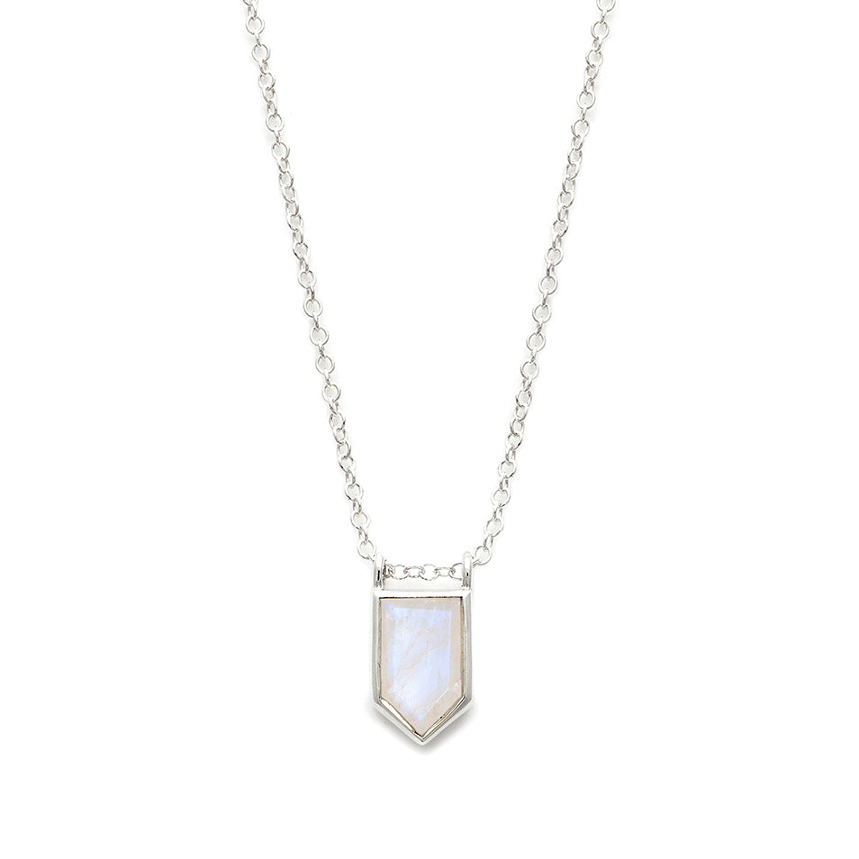 Moonstone pentagon silver necklace