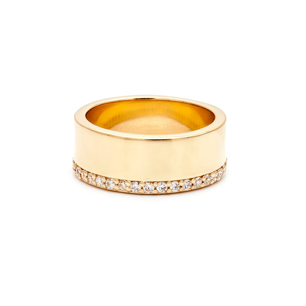 Gold vermeil cigar band with cubic zirconia edging