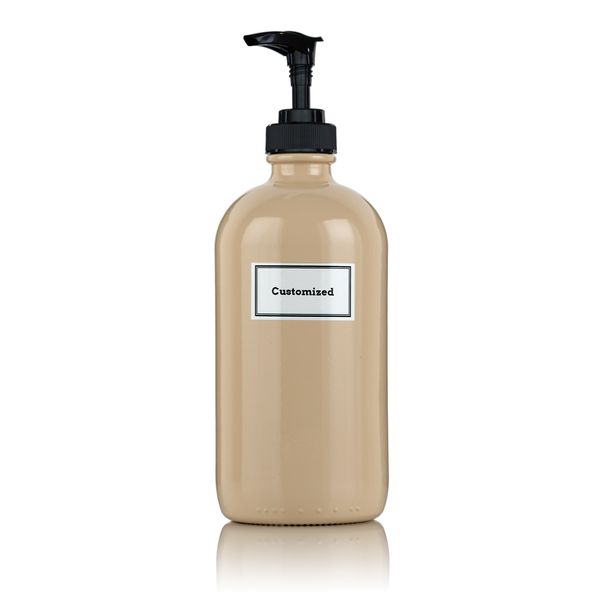 Beige Powder Coated 16 oz Glass Pump Bottle