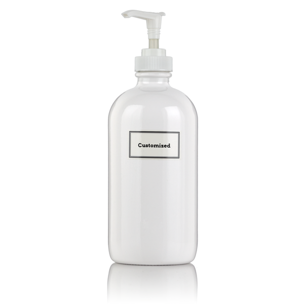 White Powder Coated 16 oz Glass Pump Bottle