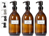 3 Amber Brown Glass Soap Dispenser Apothecary Bottles with Ceramic Printed Labels