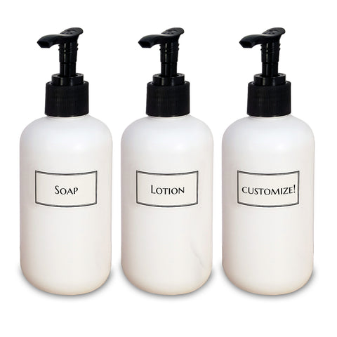 white shampoo bottles with black pumps