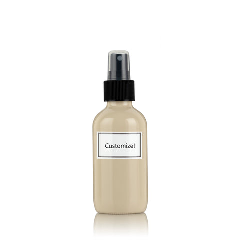 Beige Powder Coated Glass Small 4 oz Spray Bottle