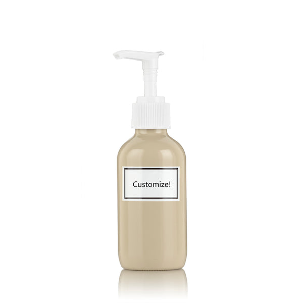 Beige Powder Coated Glass Small 4 oz Pump Bottle
