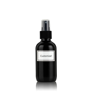 Pure Gloss Black Powder Coated Glass Small 4 oz Spray Bottle