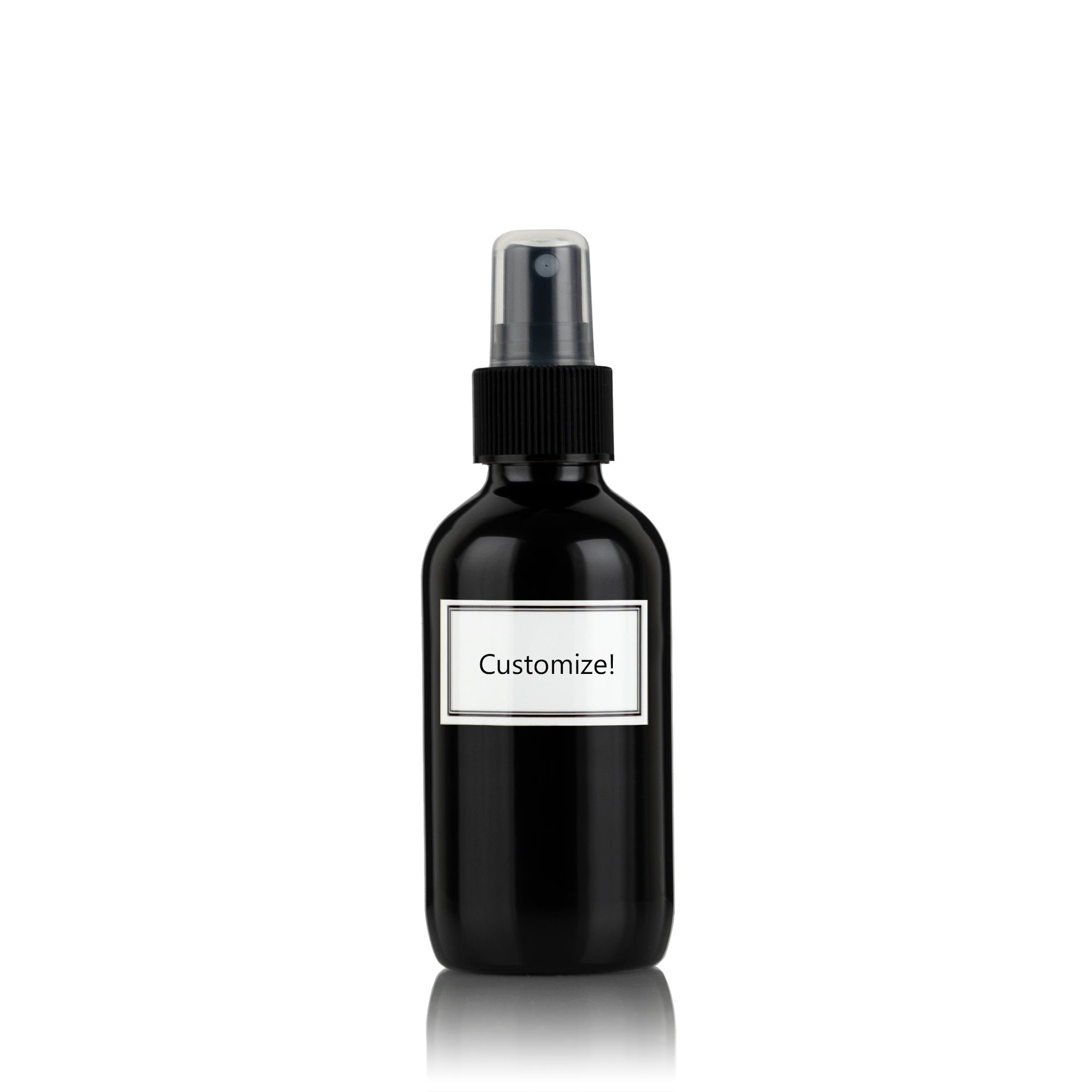 Metallic Black Powder Coated Glass Small 4 oz Spray Bottle