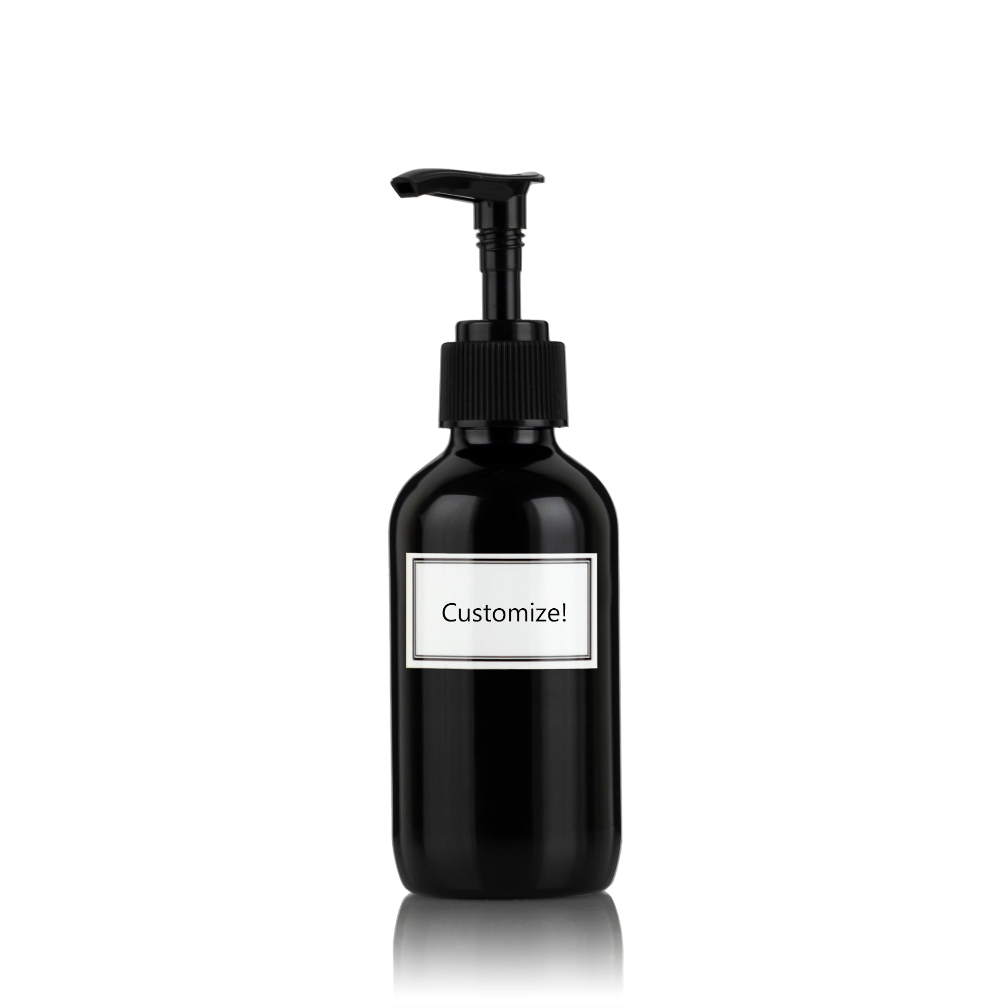 Pure Gloss Black Powder Coated Glass Small 4 oz Pump Bottle