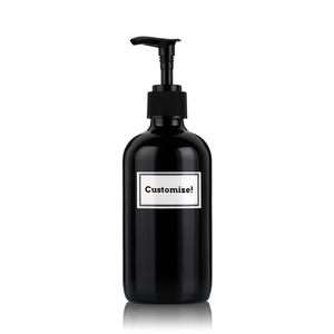 Pure Gloss Black Powder Coated Glass 8 oz Pump Bottle